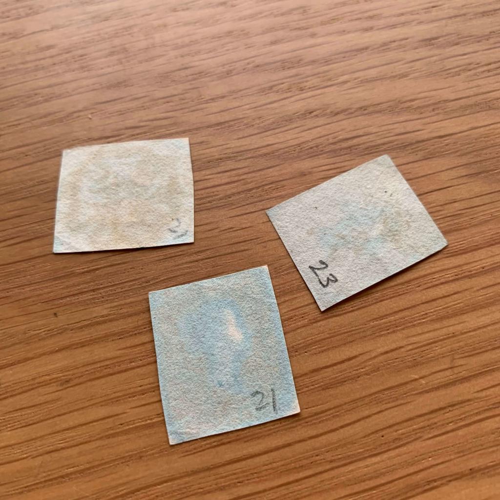 プレート番号が裏書きされた切手